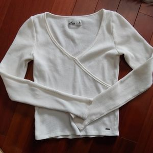Hollister white thermal cropped top medium